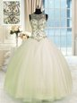 Scoop Sleeveless Tulle Floor Length Lace Up Ball Gown Prom Dress in Champagne for with Beading