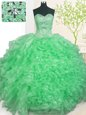 Chic Apple Green Organza Lace Up Sweet 16 Dresses Sleeveless Floor Length Beading and Ruffles and Pick Ups