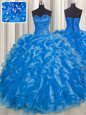 Fitting Blue Sweetheart Neckline Beading and Ruffles Ball Gown Prom Dress Sleeveless Lace Up