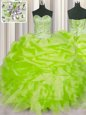 Yellow Green Organza Lace Up Sweet 16 Dresses Sleeveless Floor Length Beading and Ruffles and Pick Ups