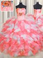 High Class Gold Lace Up Quinceanera Dresses Beading and Ruffles and Pick Ups Sleeveless Floor Length