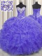 Beautiful Sweetheart Sleeveless Organza Sweet 16 Quinceanera Dress Beading and Ruffles Lace Up