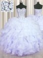 Wonderful Sweetheart Sleeveless Lace Up Quince Ball Gowns Lavender Organza