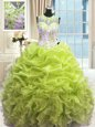 Pretty Sweetheart Sleeveless Organza 15 Quinceanera Dress Beading and Ruffles Lace Up