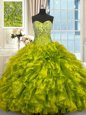 Olive Green Ball Gowns Beading and Ruffles Sweet 16 Dresses Lace Up Organza Sleeveless