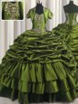 With Train Lace Up Quinceanera Gown Olive Green and In for Military Ball and Sweet 16 and Quinceanera with Ruffled Layers Brush Train