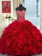Wonderful Ball Gowns Sleeveless Red Sweet 16 Quinceanera Dress Brush Train Lace Up