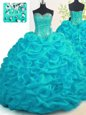 Perfect Organza Sweetheart Sleeveless Brush Train Lace Up Beading and Ruffles Quinceanera Dresses in Aqua Blue