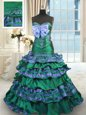 Great Dark Green Sleeveless Appliques and Embroidery and Ruffled Layers and Bowknot Lace Up Sweet 16 Dresses