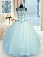 Scoop Light Blue Ball Gowns Beading Ball Gown Prom Dress Lace Up Tulle Sleeveless Floor Length