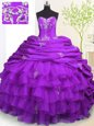 Sweetheart Sleeveless 15th Birthday Dress Floor Length Beading and Ruffles Turquoise Organza