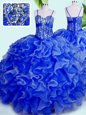 Graceful Blue Ball Gowns Spaghetti Straps Sleeveless Organza Floor Length Lace Up Beading and Ruffles Quinceanera Dresses