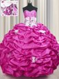 Nice Sleeveless Taffeta With Train Sweep Train Lace Up Quinceanera Dress in Fuchsia for with Appliques and Sequins and Pick Ups