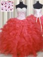Floor Length Watermelon Red Quinceanera Gowns Organza Sleeveless Beading and Ruffles