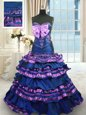 Best Selling Navy Blue Taffeta Lace Up 15 Quinceanera Dress Sleeveless Brush Train Appliques and Ruffled Layers and Bowknot