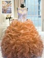 Custom Fit Orange Ball Gowns Organza Scoop Sleeveless Beading and Ruffles Floor Length Zipper Quinceanera Gowns