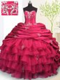 Cheap Pick Ups Ruffled Brush Train Ball Gowns Vestidos de Quinceanera Rose Pink Strapless Organza and Taffeta Sleeveless With Train Lace Up