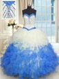 Blue And White Lace Up Quinceanera Dresses Beading and Ruffles Sleeveless Floor Length