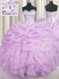 Cute Lilac Organza Lace Up Vestidos de Quinceanera Sleeveless Floor Length Beading and Ruffles