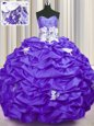 With Train Purple Quince Ball Gowns Taffeta Brush Train Sleeveless Appliques and Sequins and Pick Ups