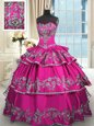 Latest Fuchsia Sleeveless Floor Length Embroidery and Ruffled Layers Lace Up Vestidos de Quinceanera