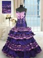 Dark Purple Sweet 16 Dresses Military Ball and Sweet 16 and Quinceanera and For with Appliques and Ruffled Layers and Bowknot Sweetheart Sleeveless Sweep Train Lace Up