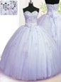 Custom Made Tulle Sleeveless Floor Length Quinceanera Gown and Beading and Appliques