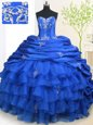 Pick Ups Ruffled With Train Royal Blue Sweet 16 Quinceanera Dress Strapless Sleeveless Brush Train Lace Up