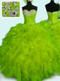 Sleeveless Organza Floor Length Lace Up Quinceanera Gown in Yellow Green for with Beading and Ruffles