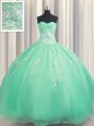 Zipper Up Sleeveless Floor Length Beading and Appliques Zipper Quinceanera Dress with Apple Green