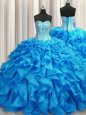 Perfect Visible Boning Baby Blue Sleeveless Organza Brush Train Lace Up Sweet 16 Quinceanera Dress for Military Ball and Sweet 16 and Quinceanera