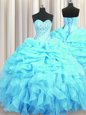 Clearance Floor Length Aqua Blue 15th Birthday Dress Organza Sleeveless Beading and Ruffles and Pick Ups