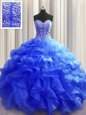 Hot Sale Visible Boning Royal Blue Organza Lace Up Vestidos de Quinceanera Sleeveless Floor Length Beading and Ruffles