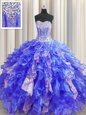 Graceful Visible Boning Baby Blue Ball Gowns Beading and Ruffles and Sequins Ball Gown Prom Dress Lace Up Organza and Sequined Sleeveless Floor Length