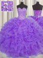 Lovely Visible Boning Sleeveless Organza Floor Length Lace Up Quince Ball Gowns in Purple for with Lace and Ruffles and Sashes|ribbons