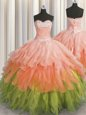 Sweetheart Sleeveless Quince Ball Gowns Floor Length Beading and Ruffles Multi-color Organza