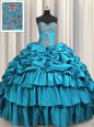 Sweetheart Sleeveless Taffeta Quinceanera Dress Beading and Embroidery and Ruffled Layers and Pick Ups Brush Train Lace Up
