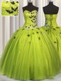 Olive Green Tulle Lace Up Quince Ball Gowns Sleeveless Floor Length Beading and Appliques