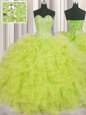 Visible Boning Floor Length Lace Up Quinceanera Dress Yellow Green and In for Military Ball and Sweet 16 and Quinceanera with Beading and Ruffles