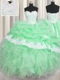 Pick Ups Green Sleeveless Organza Lace Up Sweet 16 Dresses for Military Ball and Sweet 16 and Quinceanera