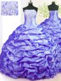 Colorful Strapless Sleeveless Taffeta Vestidos de Quinceanera Beading and Pick Ups Sweep Train Lace Up