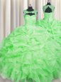Pretty Organza Scoop Sleeveless Lace Up Beading and Pick Ups Vestidos de Quinceanera in