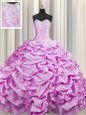 Pick Ups Lilac Sleeveless Taffeta Brush Train Lace Up Quinceanera Dress for Military Ball and Sweet 16 and Quinceanera
