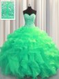 Visible Boning Floor Length Turquoise 15 Quinceanera Dress Sweetheart Sleeveless Lace Up