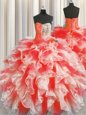 Red Quinceanera Gown Military Ball and Sweet 16 and Quinceanera and For with Beading and Ruffles Sweetheart Sleeveless Lace Up