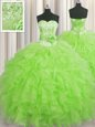 Handcrafted Flower Organza Sweetheart Sleeveless Lace Up Beading and Ruffles and Hand Made Flower 15 Quinceanera Dress in
