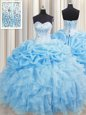 Comfortable Lace Up Quince Ball Gowns Beading and Ruffles and Pick Ups Sleeveless Floor Length