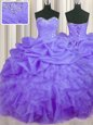 Sweetheart Sleeveless 15 Quinceanera Dress Floor Length Beading and Ruffles and Pick Ups Lavender Organza