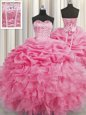 Sweet Visible Boning Floor Length Rose Pink Quinceanera Dress Organza Sleeveless Beading and Ruffles and Pick Ups
