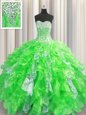 Custom Design Visible Boning Beading and Ruffles and Sequins Quince Ball Gowns Lace Up Sleeveless Floor Length